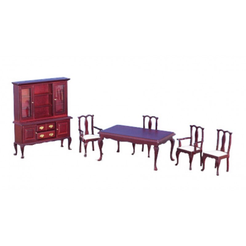 Dolls House Miniature Furniture Set Mahogany 6 Piece Dining Room Suite