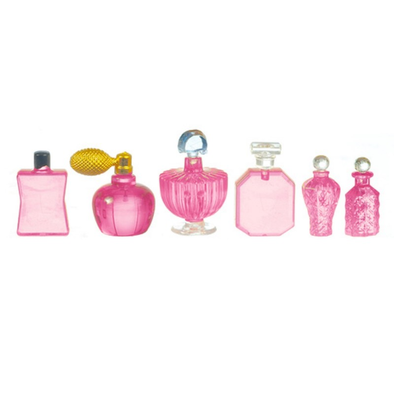 Dolls House Pink Perfume Bottles 6 Assorted Shop Bathroom Bedroom Accessory