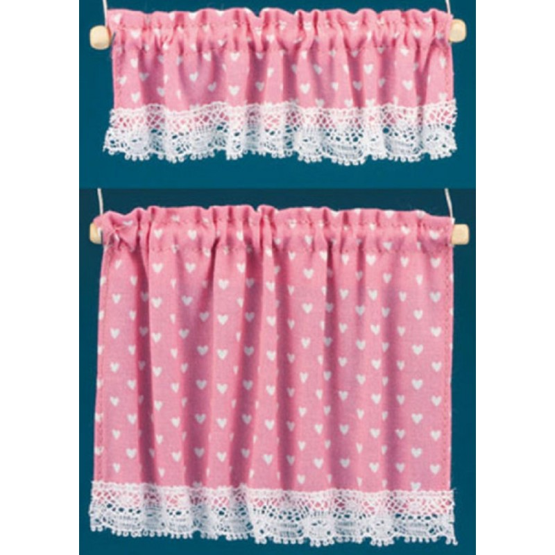 Dolls House Pink White Hearts Curtain & Pelmet Set on Rails Window Accessory