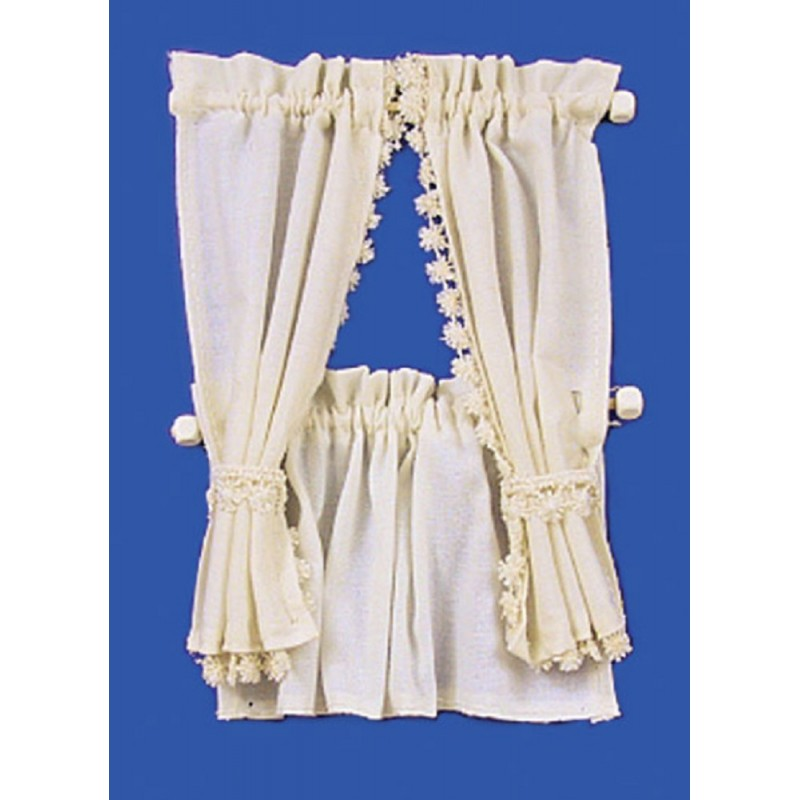 Dolls House Cream Cabin Curtain Tie Back Set Miniature 1:12 Window Accessory