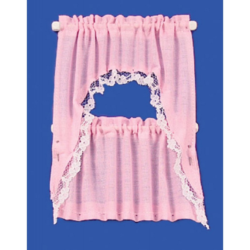 Dolls House Pink Cape Curtain Set Miniature 1:12 Scale Window Accessory