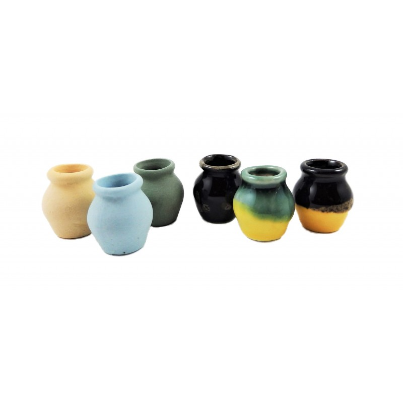 Dolls House 6 Rounded Pottery Vases Miniature 1:12 Scale Accessory