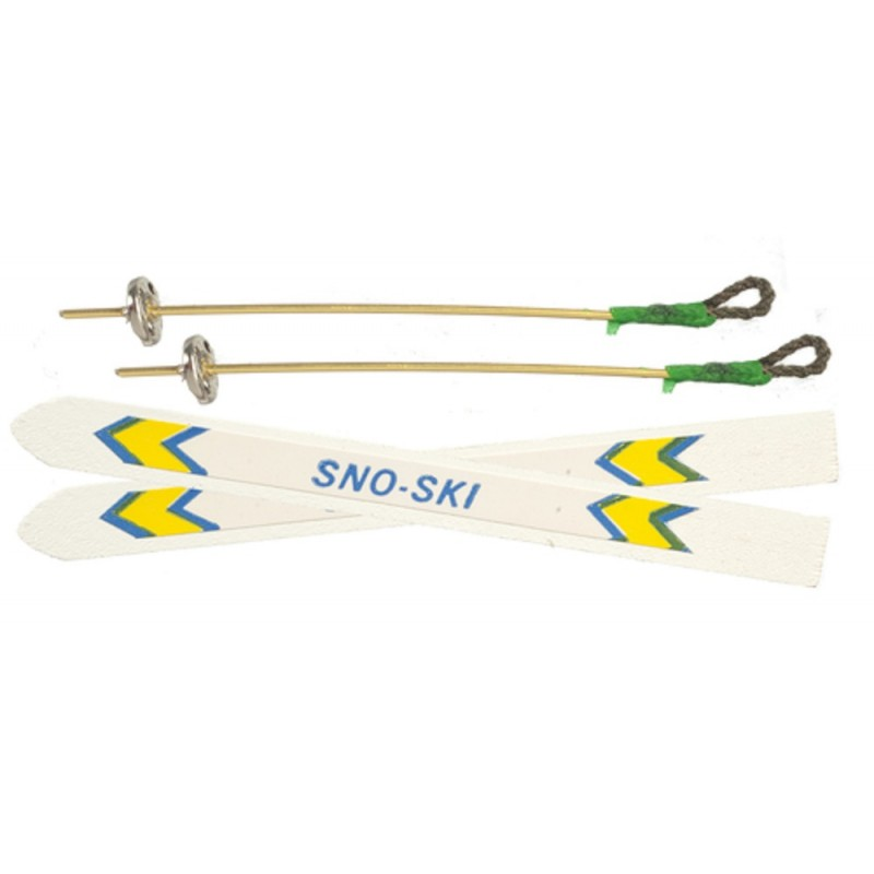 Dolls House Skis & Ski Poles Winter Sport Outdoor Snow Accessory