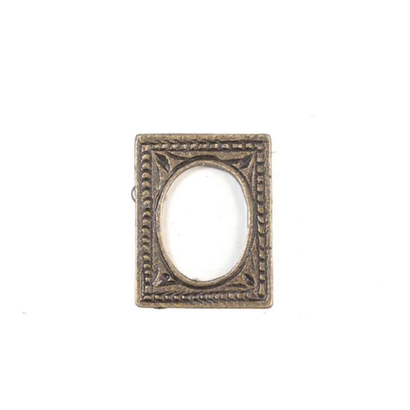Dolls House Small Antique Gold Picture Frame Oval Photo Miniature 1:12 Accessory
