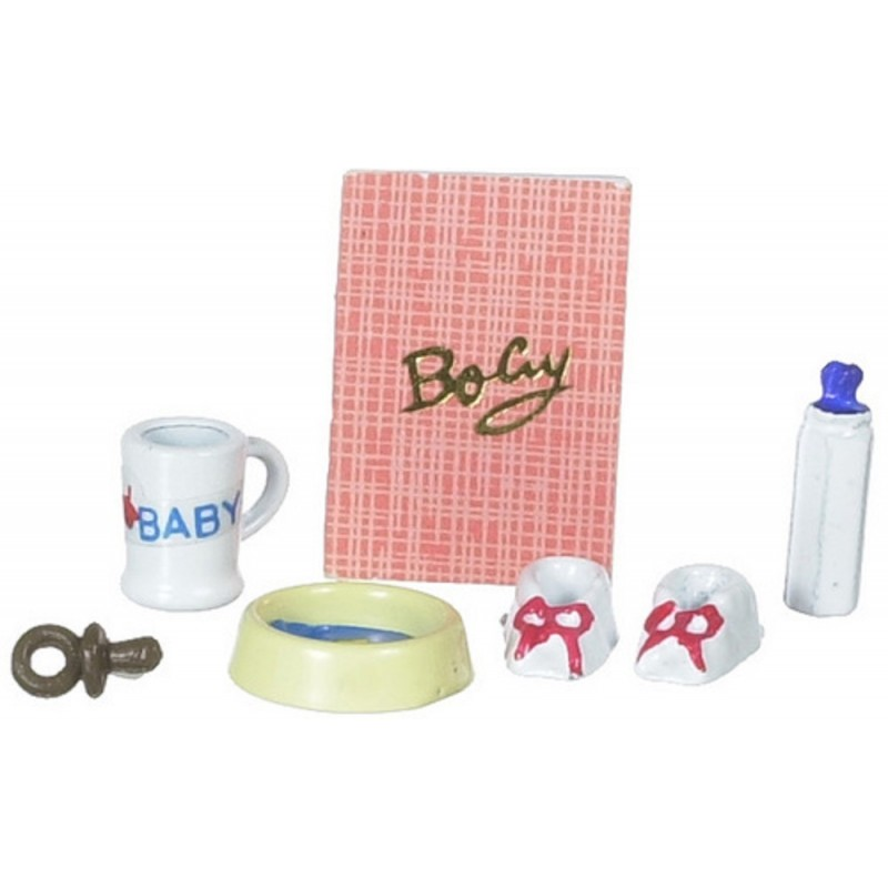 Dolls House Miniature Nursery Accessory Set Baby's Shoes Bottle Cup Dish Dummy