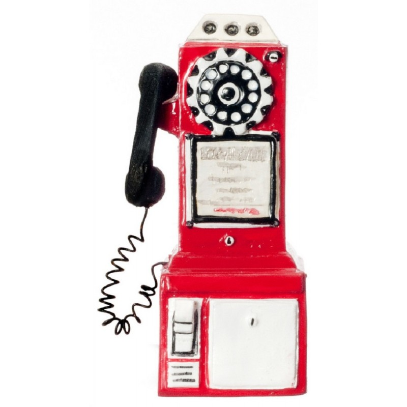 Dolls House Miniature Phone Box Shop Cafe Accessory 1950`s Pay Telephone in Red