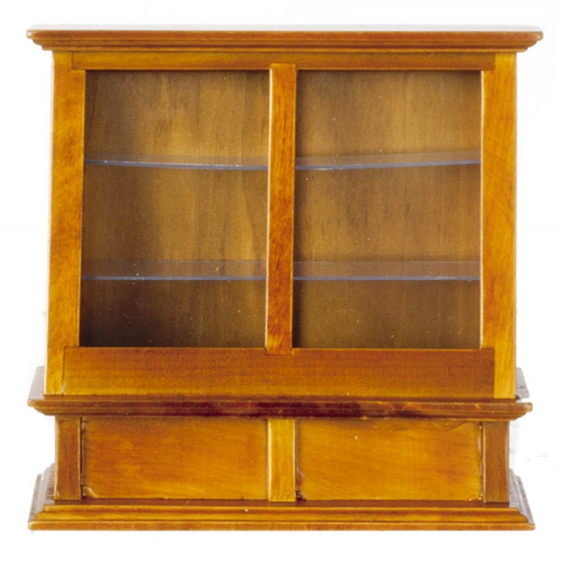 Dolls House Walnut Display Cabinet Case Miniature Shop Furniture Store Fitting