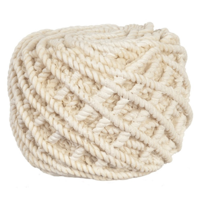 Dolls House Round Knitted Rope Pouffe Footstool Modern Living Room Furniture