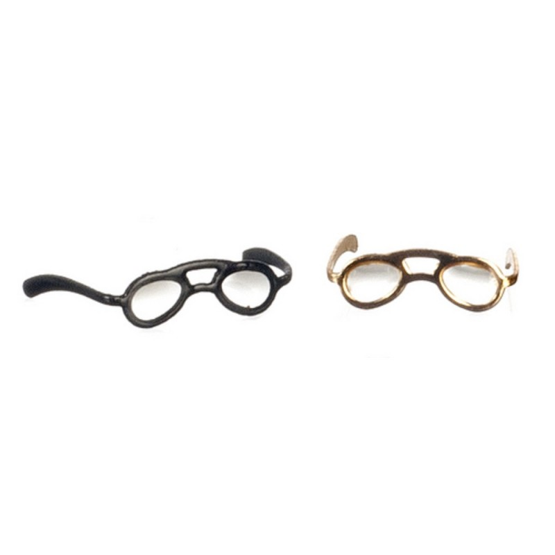 Dolls House Spectacles Black & Gold Reading Glasses Miniature 1:12 Accessory