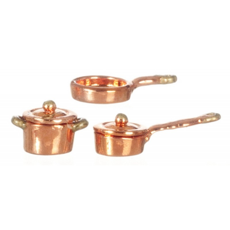 Dolls House 1:24 Scale Copper Pan Saucepan Set Miniature Kitchen Accessory