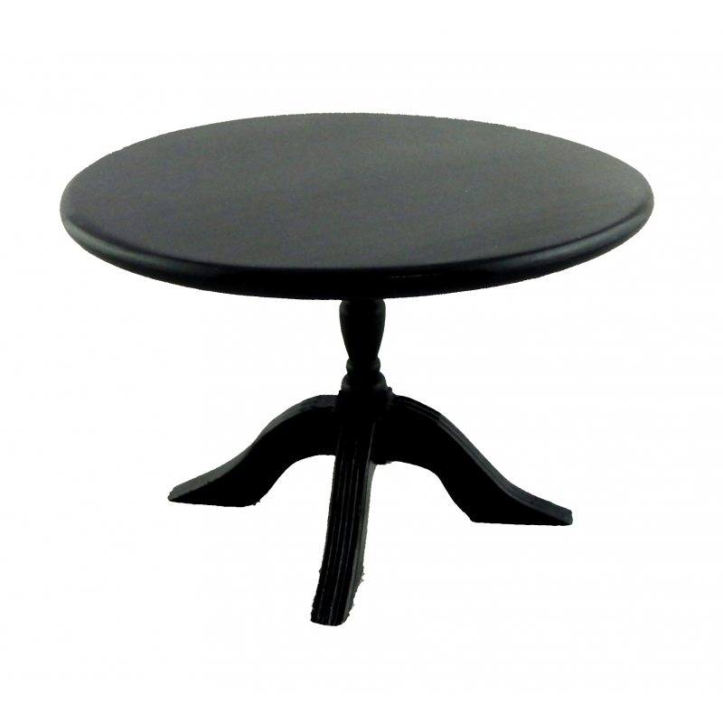Dolls House Round Black Pedestal Table Miniature Wooden Dining Room Furniture