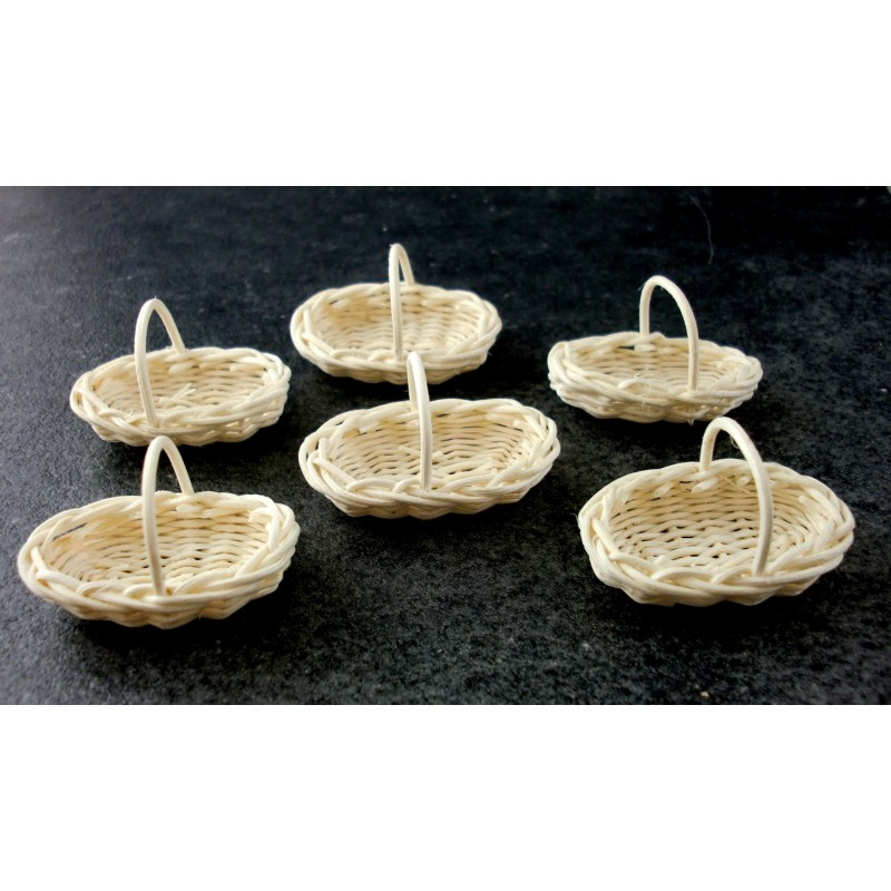 Dolls House 6 White Oval Fruit Baskets Trugs Shop Garden Florists Accessory