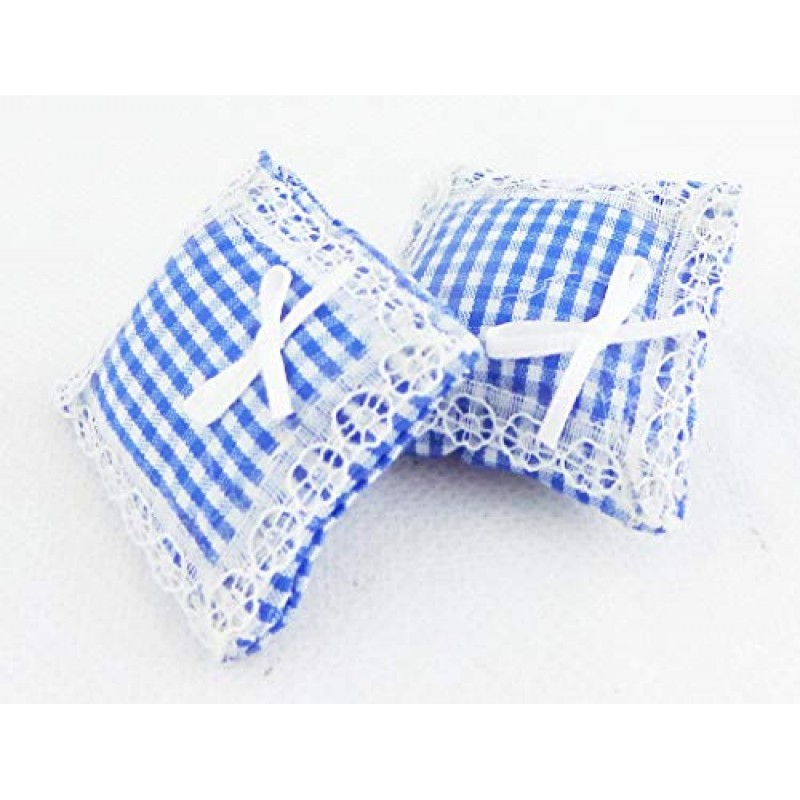 Dolls House Lace trimmed Blue Gingham Cushions Miniature 1:12 Scale Accessory