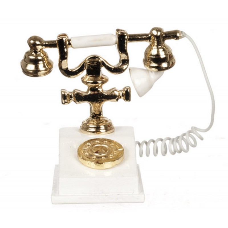 Dolls House Miniature Accessory Classic White Gold 1950 60`s Fancy Telephone