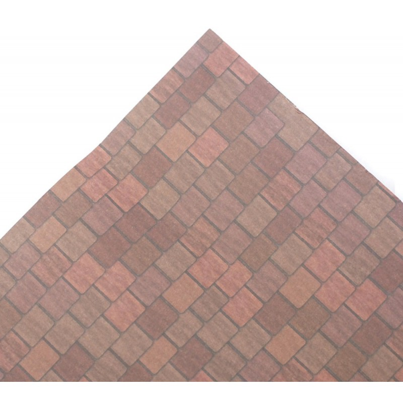 Dolls House Aged Red Roof Tile Sheet Miniature Print Exterior Wallpaper Long