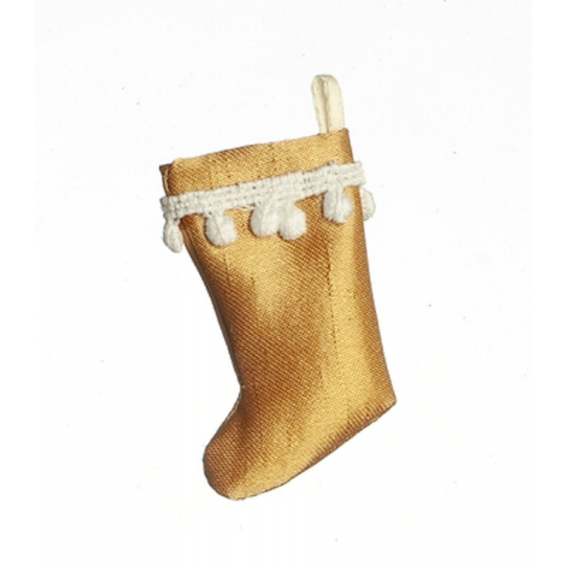 Dolls House Gold Christmas Stocking Tasseled Trim Decoration 1:12 Accessory