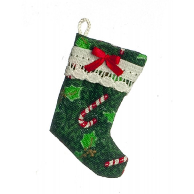 Dolls House Green Candy Cane Christmas Stocking Decoration 1:12 Accessory
