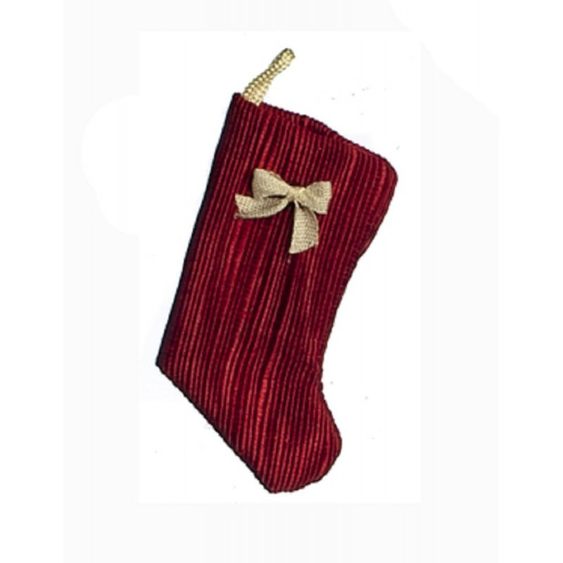 Dolls House Cranberry with Bow Christmas Stocking Decoration 1:12 Accessory