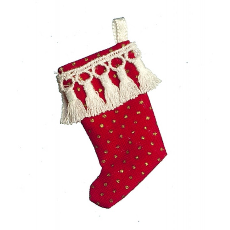 Dolls House Red Gold Spot Christmas Stocking Tasseled Decoration 1:12 Accessory