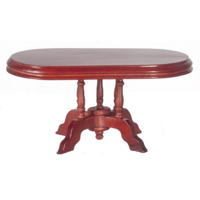 Dolls House Miniature Dining Room Furniture Oval Mahogany Table