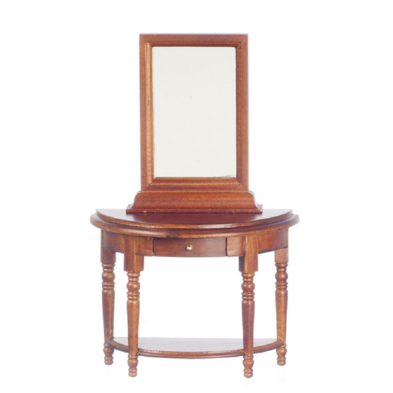 Dolls House Miniature Hall Furniture Half Moon Walnut Wood Demi Table & Mirror