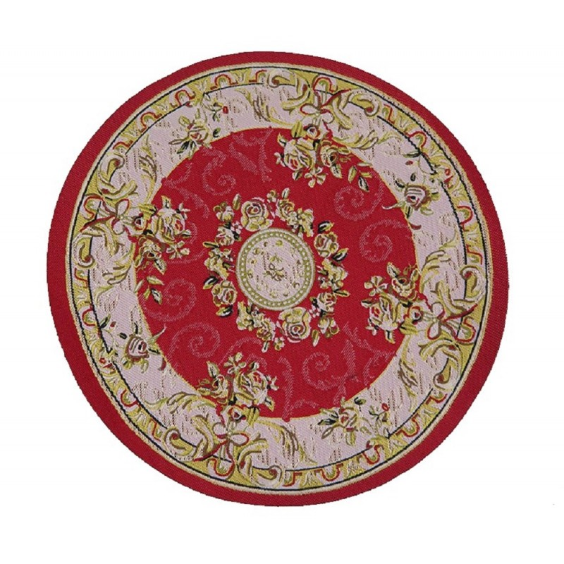 Dolls House Red Beige Circular Rug Miniature Round Turkish Woven Carpet