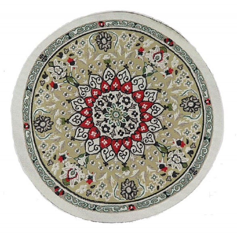 Dolls House Green Beige Circular Rug Miniature Round Turkish Woven Carpet Medium