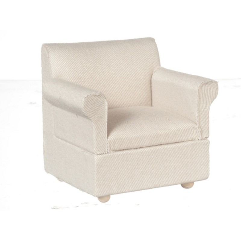 Dolls House Hessian Classic Modern Armchair Miniature Living Room Furniture 1:12