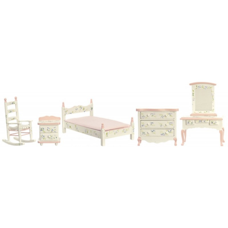 Dolls House Hand Painted Shabby Chic Pink Single Miniature Bedroom Furniture Set