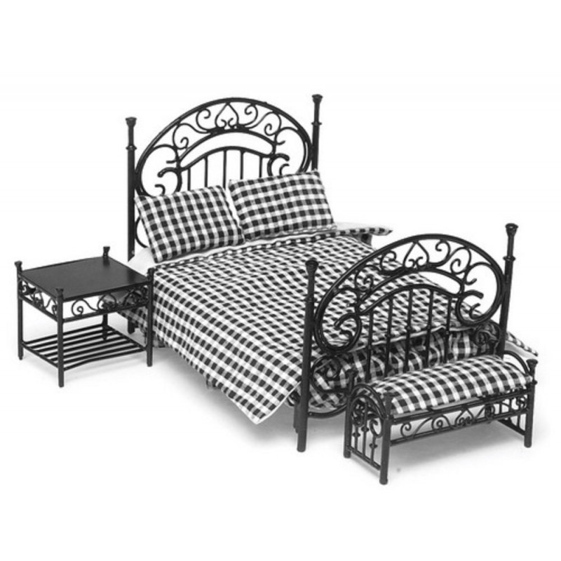 Dolls House Miniature Black Wrought Iron Wire Bedroom Furniture Set + Bedding