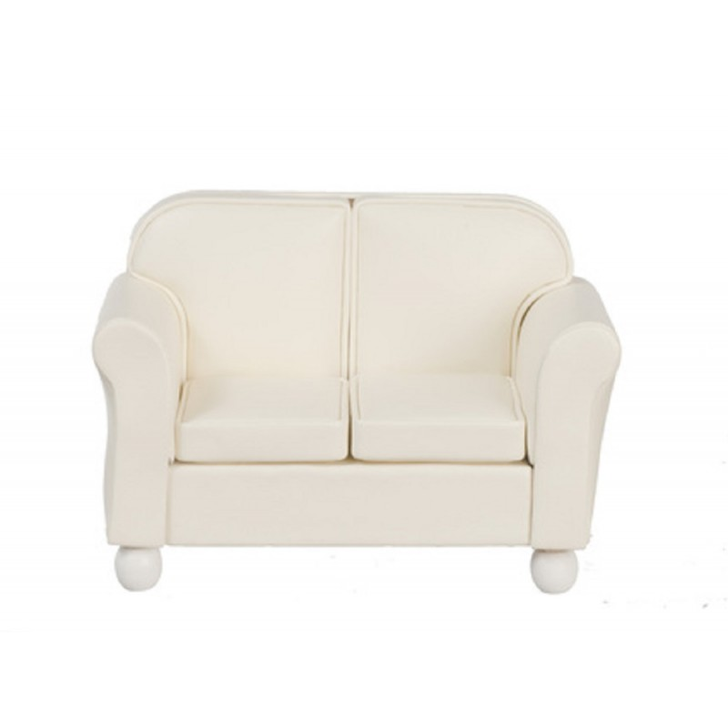 Dolls House Miniature Living Room Furniture Cream Leather 2 Seater Sofa