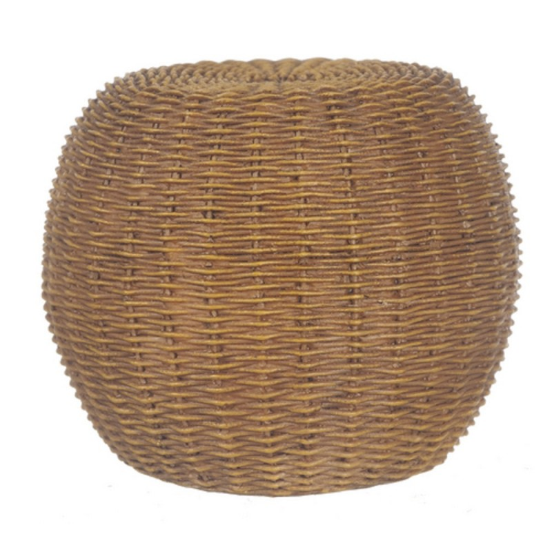 Dolls House Modern Round Knitted Rattan Pouffe Footstool Living Room Furniture