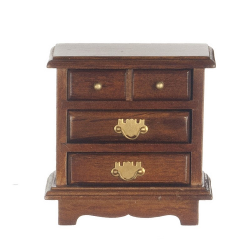 Dolls House Walnut Bedside Chest Nightstand Miniature 1:12 Bedroom Furniture