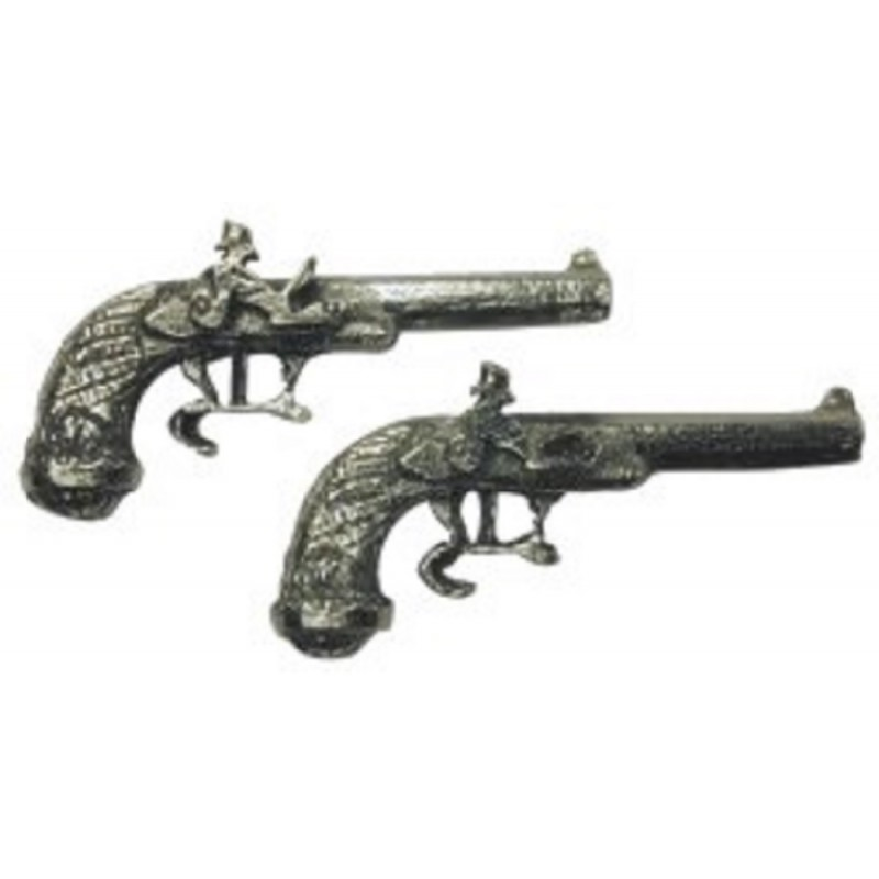 Dolls House 1:24 Scale Pair of Duelling Pistols Wartime Ornamental Accessory