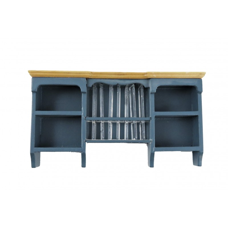 Dolls House Blue & Pine Wall Cupboard with Plate Rack Kitchen Furniture 1:12