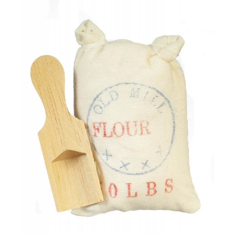 Dolls House Flour Sack & Scoop Old Fashioned Kitchen Store Shop Accessory