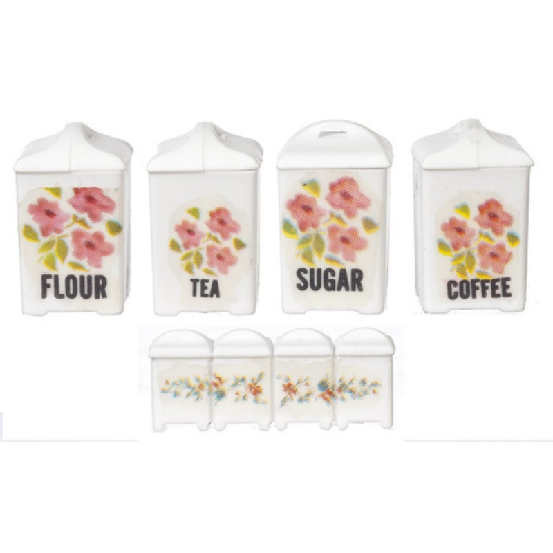 Dolls House White Pink Floral Canister Set Storage Jars Kitchen Accessory