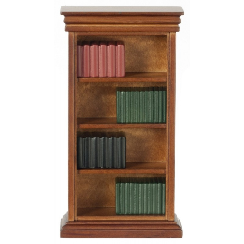 Dolls House Miniature Study Furniture Walnut Bookcase with Books