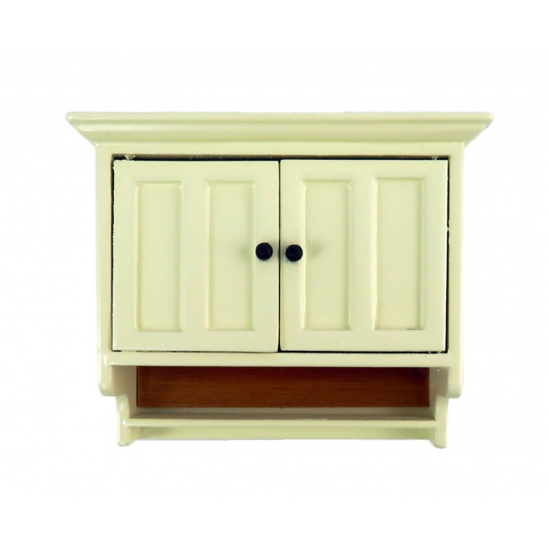 Dolls House Cream & Walnut Double Wall Cupboard Modern 1:12 Kitchen Furniture