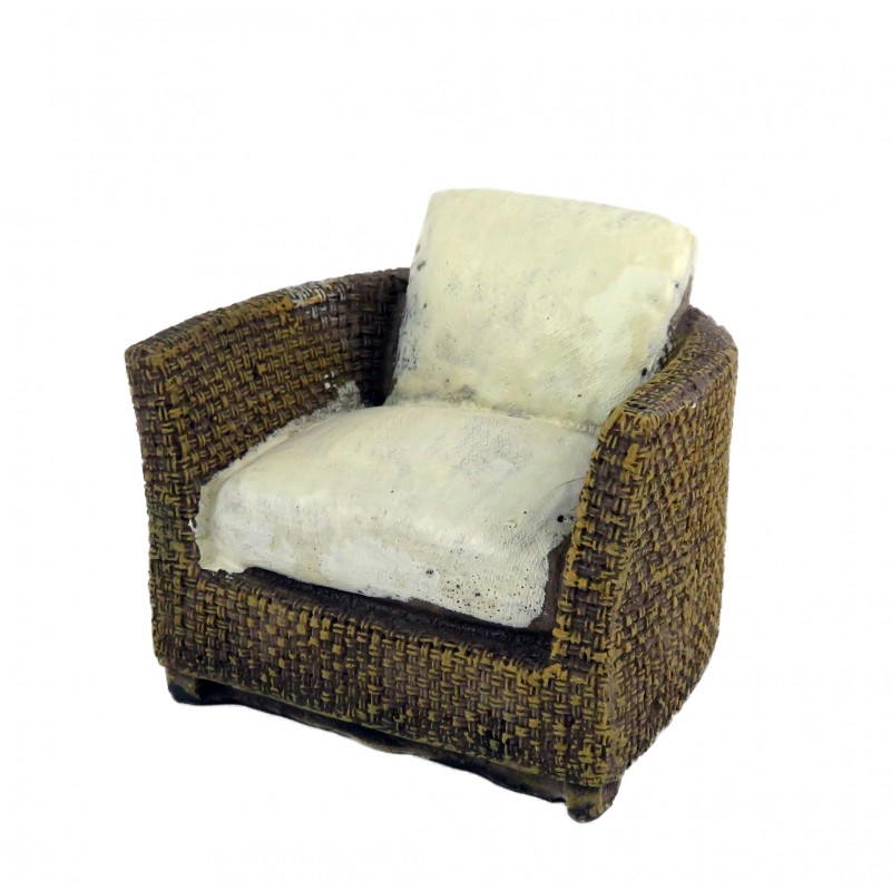 Dolls House Brown Rattan Tub Chair Resin Modern Conservatory Garden Furniture