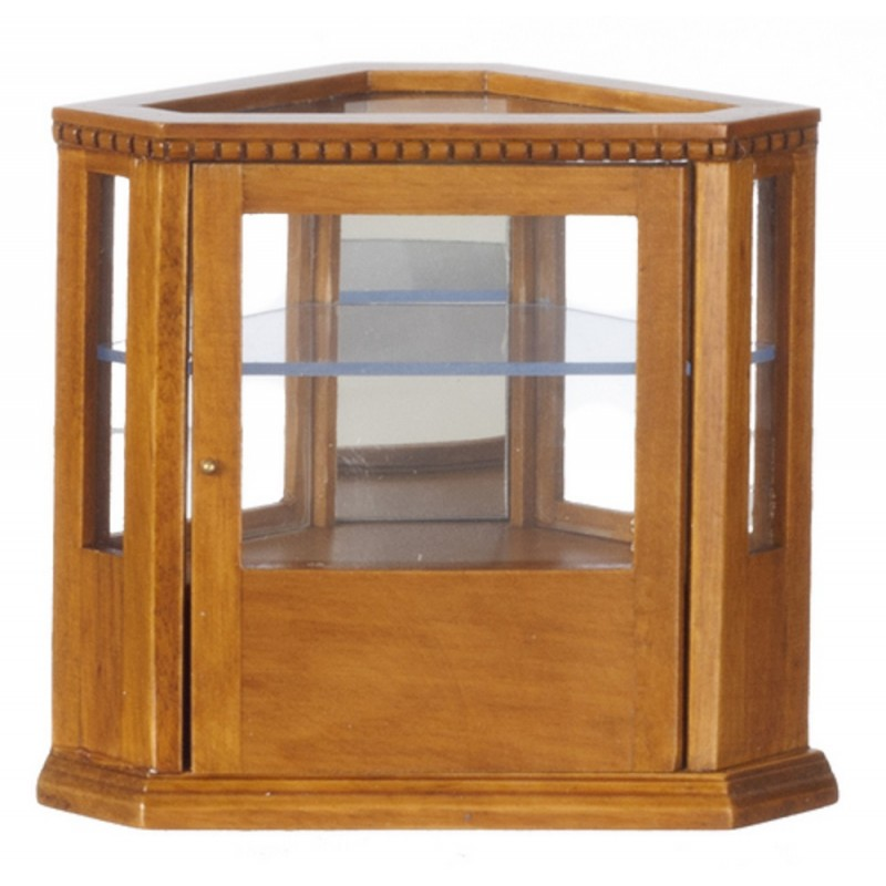 Dolls House Walnut Corner Display Counter Shop Fitting Miniature Store Furniture