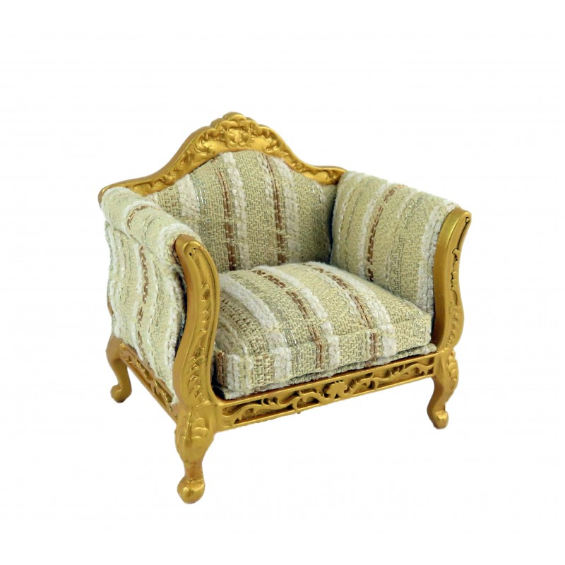 Dolls House Gold Louis XV Armchair 1:12 Scale Lounge Salon Living Room Furniture