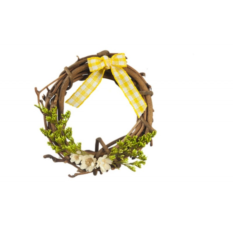 Dolls House Rustic Wreath Decorated in Yellow Miniature Accessory