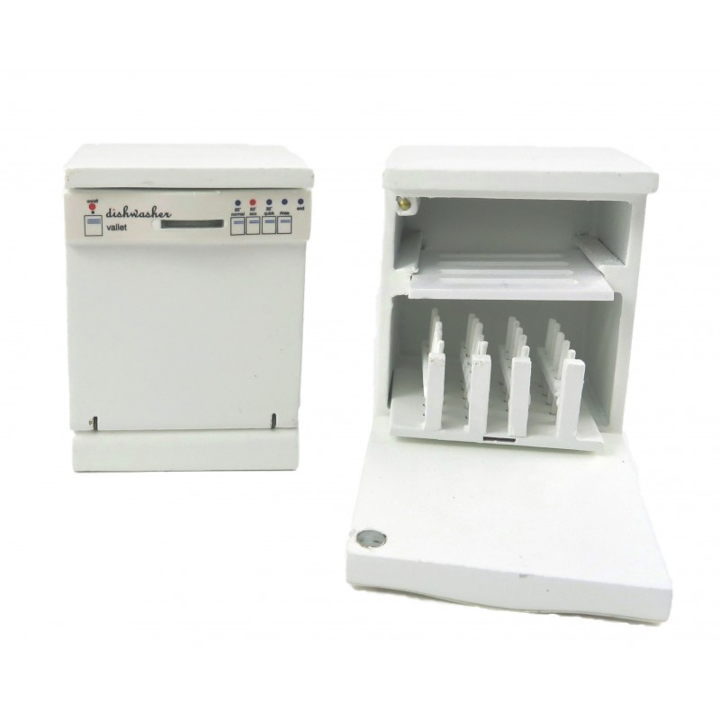 Dolls House White Dishwasher Modern 1:12 Scale Appliance Kitchen Furniture