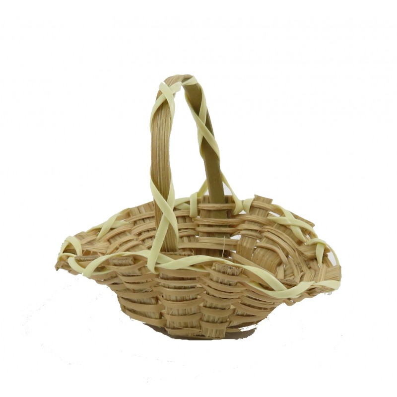 Dolls House Wicker Woven Trug Open Flower Basket Miniature Garden Accessory