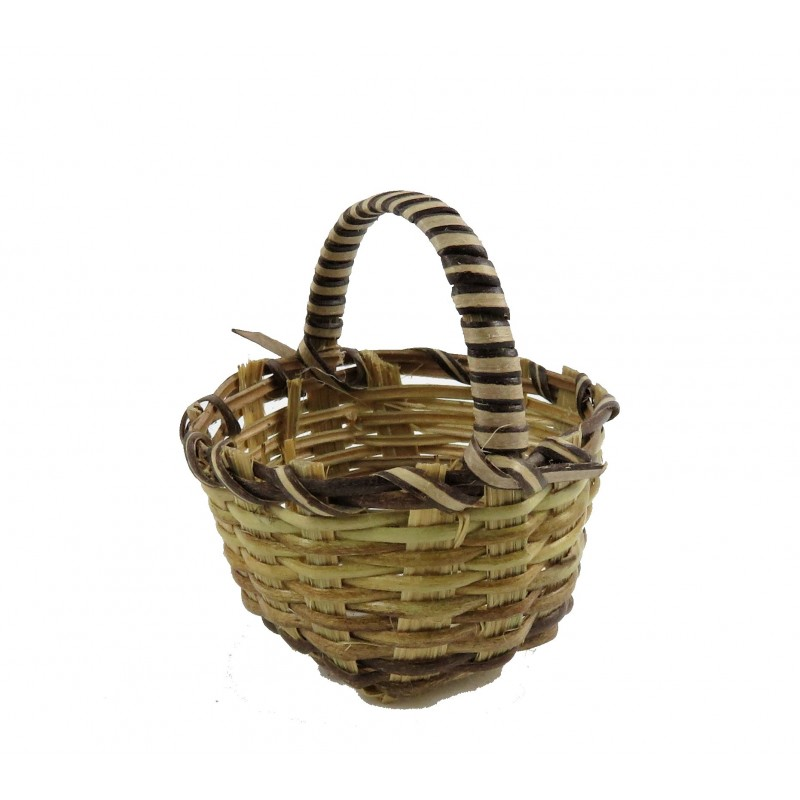Dolls House Deep Wicker Woven Basket Round with Handle Shop Garden Accessory