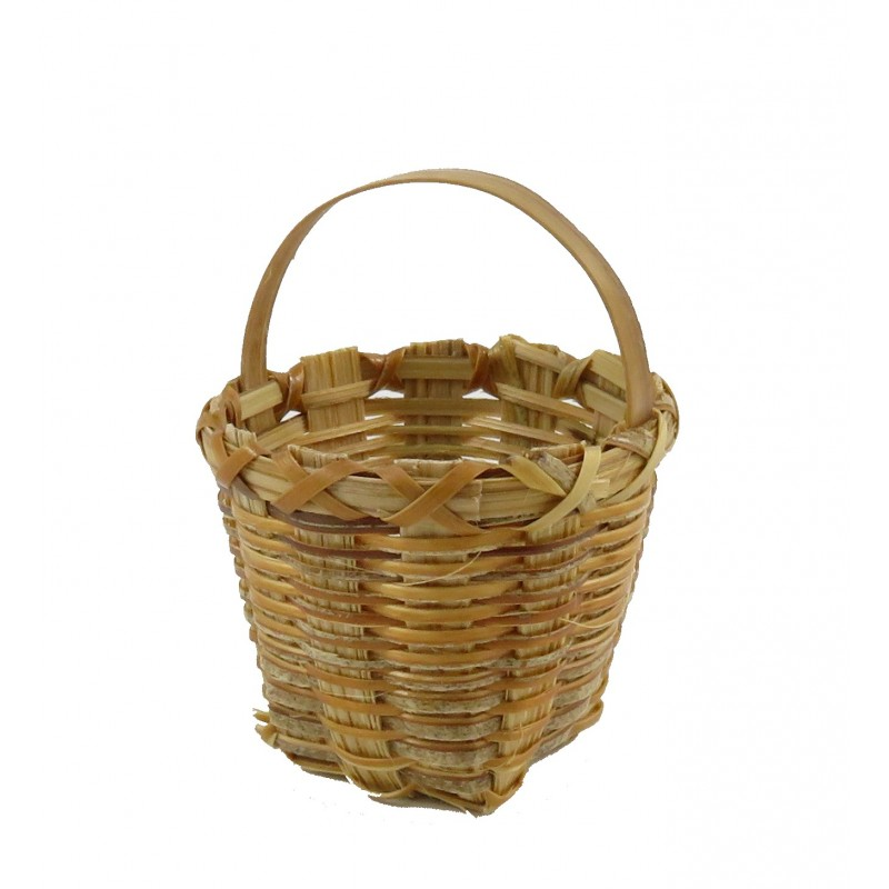 Dolls House Deep Round Wicker Basket with Handle Shop Garden Accessory