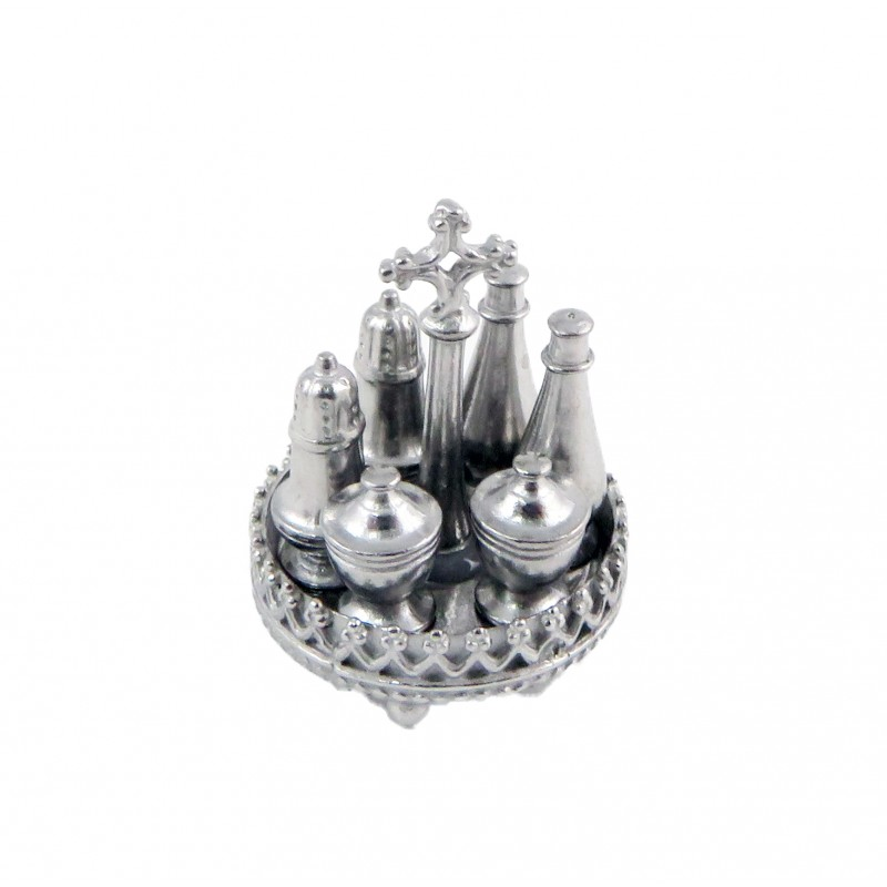 Dolls House 7 Piece Silver Cruet Set Metal Tableware Dining Room Accessory