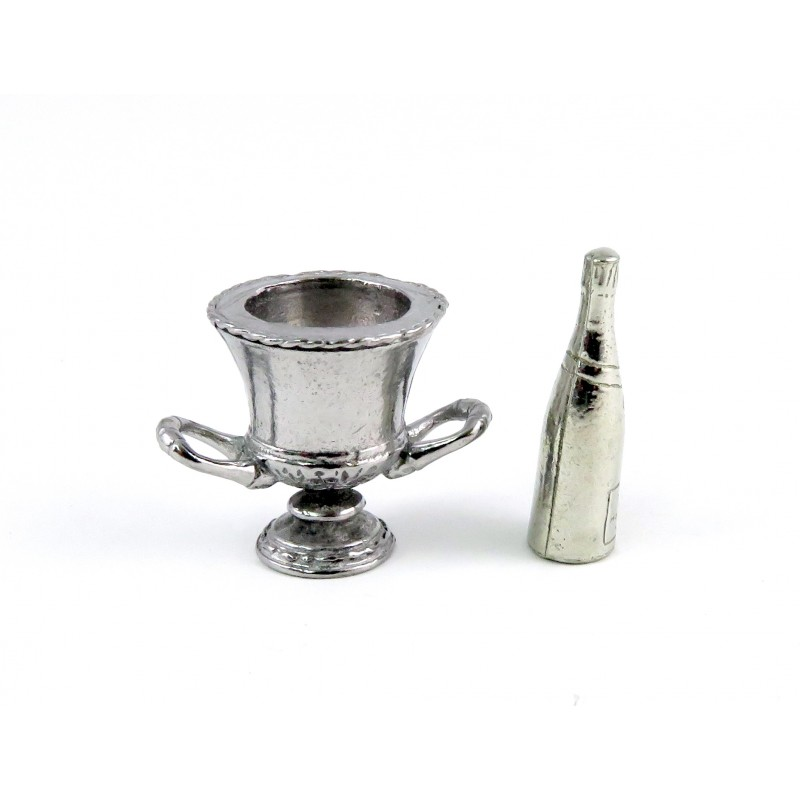 Dolls House Silver Champagne Bottle & Wine Cooler Bucket Dining Room Accessory