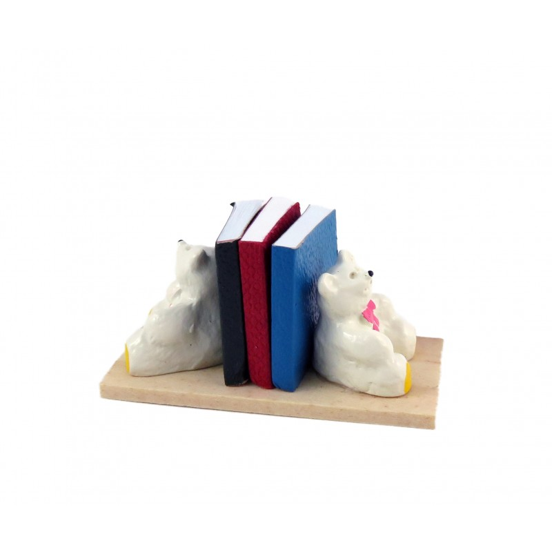 Dolls House Teddy Bear Books in Bookends Miniature Nursery Toy Shop Accessory